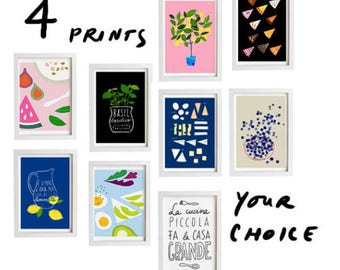 "Your Choice Print Set of 4 - 11""x15"" - Food Art - Kitchen Print Set - archival fine art giclée prints"