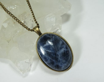 Sodalite Pendant, Blue Sodalite Necklace, Blue Crystal, Blue Gemstone Necklace, Sodalite Jewelry, Crystal Energy