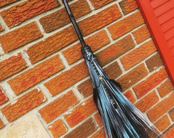 Broom, Witch's Broom, Altar Broom, Witchcraft, Wicca, Raven Inspired Witches Besom, Black Crow, Raven Totem, Witch's Altar, Pagan Besom