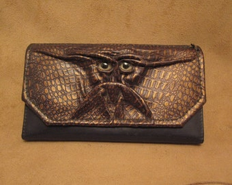 Grichels leather ladies wallet - scaly metallic bronze with lemonade fish eyes