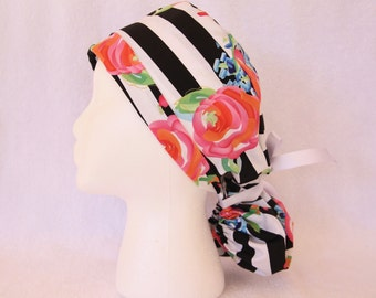 PonyTail Scrub Hat, Scrub Cap - Operating Hat, Black and White stripes