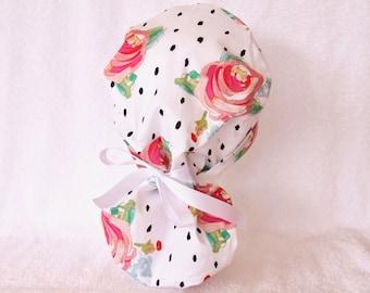 PonyTail Surgical Scrub Cap - Scrub Hat - White Modern Flower Print, Polka Dots, Pony Style, Pony Tail Scrub Cap