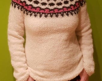 Hand knitted Icelandic sweater - 100% natural- SALE