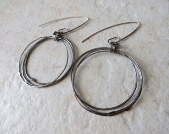 Earrings: Soldered Oxidized Sterling Silver Circles by Sarah Wiley Jewelry 160022SC
