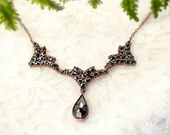 Gorgeous Original Bohemian garnet drop necklace    ГРАНАТ#PK