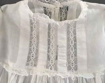 Vintage White Cotton Baby Dress, lace, Girls, christening, baby dedication