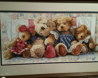 COMPLETED CROSS STITCH - Teddy Bear Row