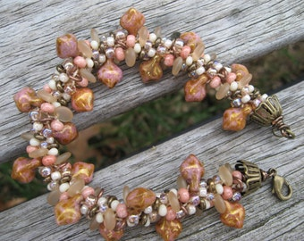 Heathered pink & browns jumbled Kumihimo bracelet - marbled taupe, pink, brown and ivory