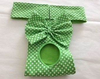 Female Dog Diaper - Britches - Dog Panty / Panties- Bright Green with White Polka Dots - Available in all Sizes