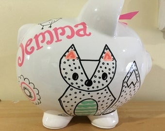 Personalized Large Fox Birds Deer  Piggy  Bank Newborns , Birthday Flower Girl,Baby Shower Gift Centerpiece