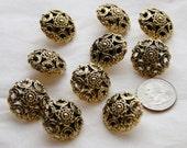 10 Gold Shank Back Buttons, Vintage Antique Look, Sewing, Craft (AL 30)