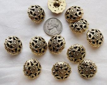 12 Gold Shank Back Buttons, Vintage Antique Look, Sewing, Craft (AL 29)