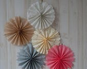 ON SALE NOW Set of 5 Tissue Fans Rosettes Hanging Tissue Pinwheels Colors of your Choice Medallions Party Decoration photo prop table backdr