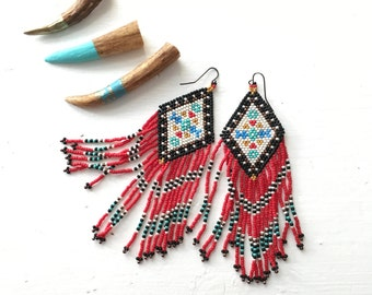 Bead Fringe Earrings, Red Black Turquoise, Floral Design, Earth Sisters, Beaded Dangles, Boho Jewelry, Native American Beadwork