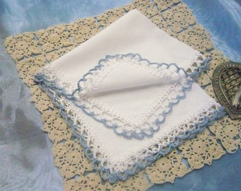Personalized Handkerchief, Hanky, Hankie, Custom, Monogrammed, Embroidered, Hand Crochet, Lace, Bridal, Something Blue, Ready to ship