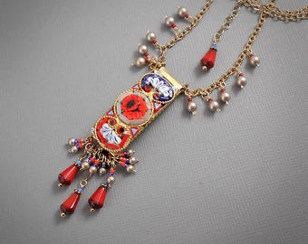 Mosaic Garden Necklace Vintage Italian MicroMosaic Vivid Red Orange Rose Gray Cobalt Blue Periwinkle White Vivid Gypsy Boho Festival Jewelry