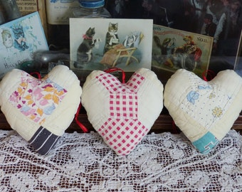 Antique Bow Tie Quilt hanging Sachet Hearts with organic lavender Valentines!