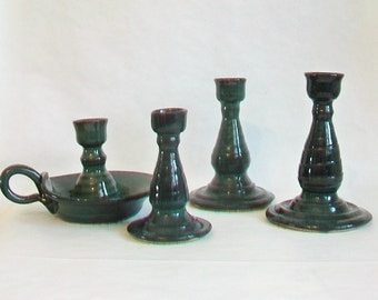 Blue Green, Dark Teal -- Candlestick Holder with Handle  - Individual Single Candlestick Holders - Handmade on the Wheel - Ready to Ship