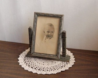 Vintage Art Deco Swing Frame, Wood, Glass, 1940s, Antique Tilt Wood Picture Frame and Old Portrait Photograph of Young Boy
