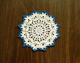 Cottage Chic Crochet Lace Doily, Table Accessory, New Home Decor, Ecru, Blue