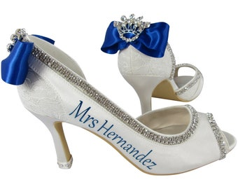 Princess Wedding High Heels, Personalized Ivory or White Peep Toe Shoes, Bride's New Last Name-royal blue- 2 3 4 inch heel