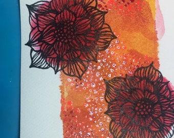 Flowers on Orange Background