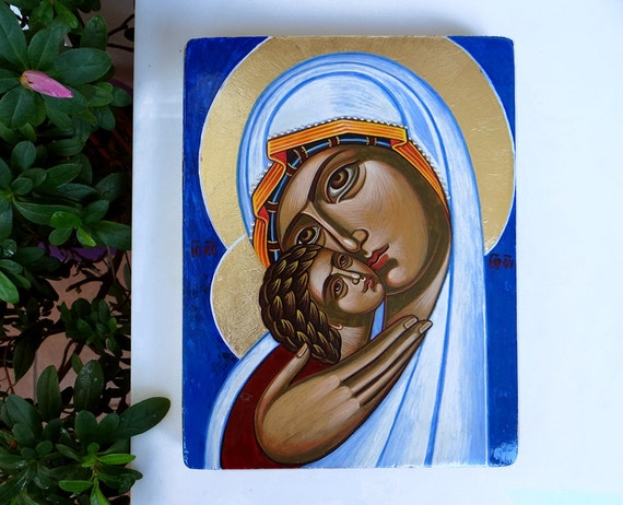 Mary and Christ child icon, Eleusa original icon, 6 1/2 X 8 in,  handpainted orthodox icon