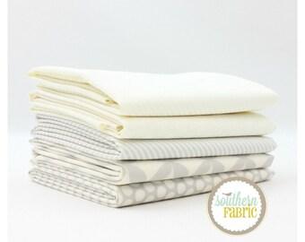 "Basics - Low Volume - Half Yard Bundle - 5 - 18""x21"" Cuts - Bonnie and Camille - Moda Quilt Fabric"