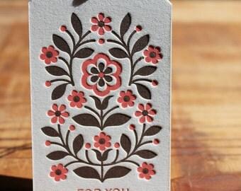 Letterpress Folk Flower Gift Tag