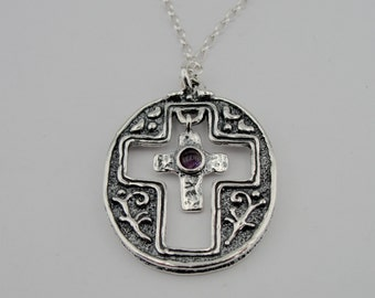 Stunning Huge Sterling Silver925 garnet  Cross Pendant with cross ,chean,Woman, gift, holiday, birthday (cr 406)