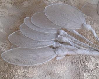 Vintage Millinery Flower Petals/ Edwardian Wedding Bouquet / White Lace Net / 4pc / Vintage Wedding Corsage Something Old Victorian Bride