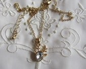 Vintage Gold Tone Delicate Chain and Deer Pendant Necklace