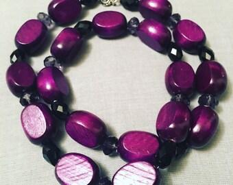 Purple Wooden Dream Necklace