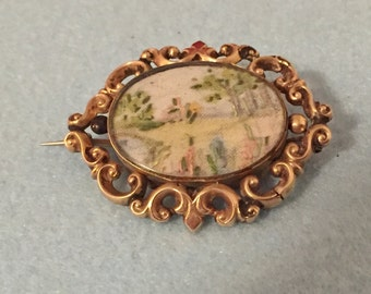 Victorian Mourning Brooch - Needlepoint to Front, Hair Receiver Back