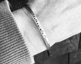 Neverless, She Persisted Bracelet - Skinny Cuff, Stacking Bracelet
