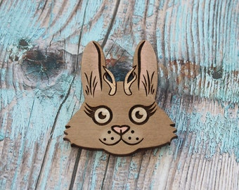 Jackalope Hand Painted Lasercut Wood Pin