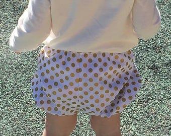Girls bubble bloomer baby diaper cover gold polka dot shortie metallic gold and white toddler girl