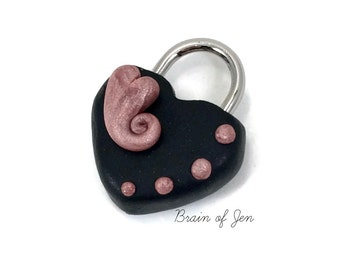 Black & Pink Heart Lock Polymer Clay Covered Working Padlock for BDSM Collars or Cuffs