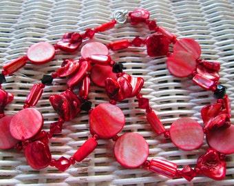 508  Red shell, Swarovski crystals handmade, beaded necklace
