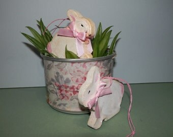 2 Hand Made Plaster White Bunny Rabbit Glitter Ornaments Gift Tree Package Topper Hanging Holiday OOAK Tuck Bowl Easter Basket Filler Ornie