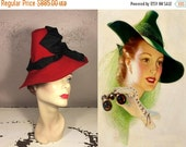 ANNIVERSARY SALE Can't Stop Staring - Vintage 1930s Red Felt Cone Peaked Fedora Hat w/Dripping Black Satin Bows - Museum Quality