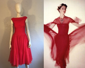 Valentine's Delight - Vintage 1950s Lipstick Red Sheath Chiffon Dress w/Train  - 2/4