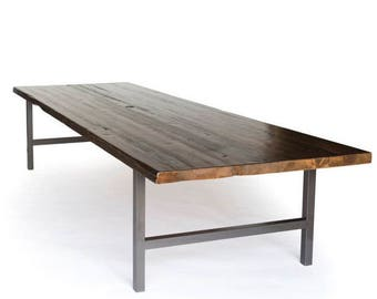 Vintage Barn Wood Office/Board Room/Conference Table with steel base-choice of steel legs style/color and wood thickness, size and finish.