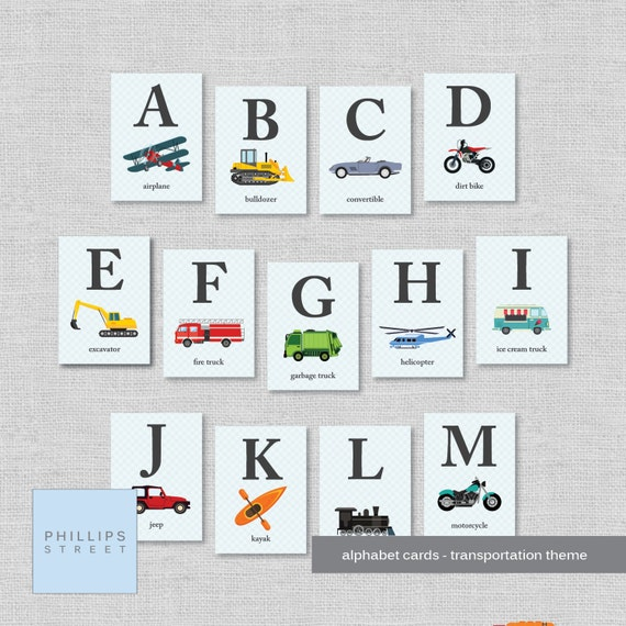 Transportation Alphabet Cards Abc Wall Art Flash Cards