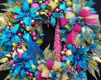 Peacock Winter Holiday Christmas Wreath  ENCHANTED PEACOCK Turquoise Hot Pink Lime Green with Tree