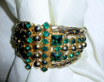 Art Deco Emerald Crystal Bracelet, Estate Find