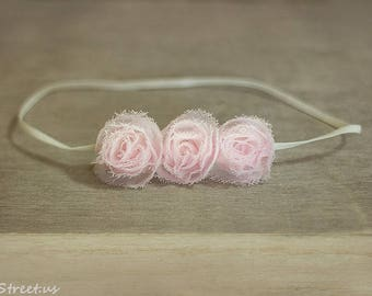 Baby Headband, Light Pink Rose Newborn Headband, Newborn Props, Triple Flower Headband, RTS Props, Cool Pink Headband, Newborn Props