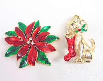 Christmas PIN. Brooch Lot. Dog Pin. Puppy Pin. Christmas Dog Pin. Poinsettia Pin. Christmas Brooch. Christmas Puppy. 2 pc lot. vintage 1960s