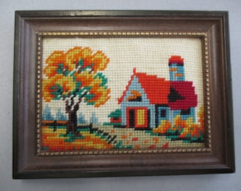 vintage framed needlepoint, house with trees along road, landscape, finished, framed, 6 by 8 1/2 inches