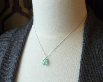 Shoreline. Silver and Mint Teardrop Necklace. 16k white gold plated. modern. delicate. feminine. wedding.